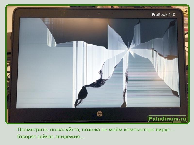 Юмор сисадминов; ужасы IT; HP ProBook 640; как не разбить экран ноутбука; полезные советы; советы сисадмина; вирус; разбитый экран;